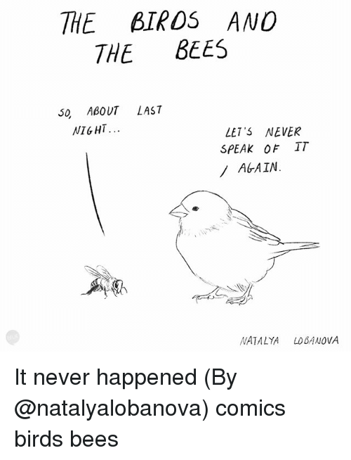 Memes, Birds, and Never: THE BIROS ANO  THE BEES  0 ABOUT LAS7  NIGHT.  LET' NEVER  SPEAK OF IT  AGAIN.  NATALYALOBANOVA It never happened (By @natalyalobanova) comics birds bees