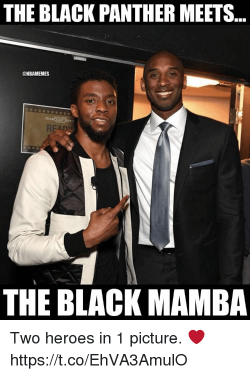 Black, Black Panther, and Heroes: THE BLACK PANTHER MEETS..  @NBAMEMES  THE BLACK MAMBA Two heroes in 1 picture. ❤ https://t.co/EhVA3AmulO