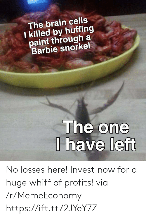 Losses: The brain cells  I killed by huffing  paint through a  Barbie snorkel  The one  I have left No losses here! Invest now for a huge whiff of profits! via /r/MemeEconomy https://ift.tt/2JYeY7Z