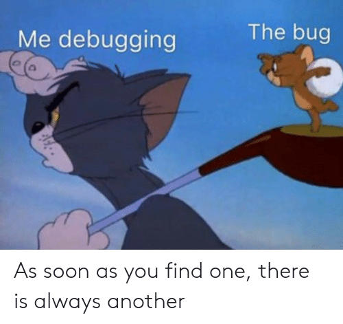 Soon..., Another, and One: The bug  Me debugging As soon as you find one, there is always another