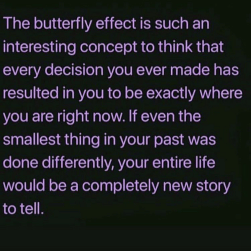You Are Right: The butterfly effect is such an  interesting concept to think that  every decision you ever made has  resulted in you to be exactly where  you are right now. If even the  smallest thing in your past was  done differently, your entire life  would be a completely new story  to tell.