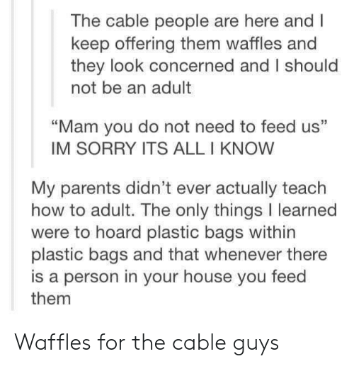 """Hoard: The cable people are here and I  keep offering them waffles and  they look concerned and I should  not be an adult  """"Mam you do not need to feed us""""  IM SORRY ITS ALL I KNOW  My parents didn't ever actually teach  how to adult. The only things I learned  were to hoard plastic bags within  plastic bags and that whenever there  is a person in your house you feed  them Waffles for the cable guys"""