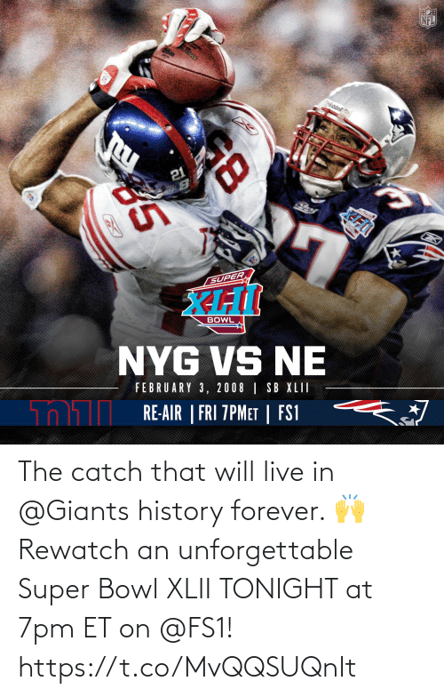 Super Bowl: The catch that will live in @Giants history forever. 🙌  Rewatch an unforgettable Super Bowl XLII TONIGHT at 7pm ET on @FS1! https://t.co/MvQQSUQnIt