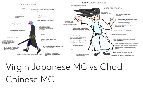 "Bitch, Clothes, and Family: THE CHAD CHINAMAN  THE VIRGIN JAPANESE MC  cold gleam in eyes, about to  murder billions of people  OUTBY THEROOT S  isekai  tsundere waifus, will be physically assaulted  and let it happen  never tricked,  intelligence too high  jade like skin - literally zero  impurities  constantly misses  home and bitches  died a 40 year old  virgin  about it  imperial aura can reach back in time  and kill your family nine generations  before you were born  weird hair colour to be ""unique""  will cripple at a  moment's notice  video game powers  dao of the sword can break  kowtow before this daddy  every fundamental law you can  think of and more  shitty walmart sword,  comprehension of sword  skills too low to understand  how shit it is  if reincarnated, does not bitch  and quickly decides to become  the strongest being to ever exist  never even heard of video games  only grabs titties accidentally  manlet  clothes formed from pure skill  could have literally any woman  in the world, turns them down  due to high standards  cannot reach the apex  stable foundation, unshakeable by experts  many stages above  loads of useless powers, still  laughed at by peers  romance subplut goes  either gets one brilliant waifu he  never leaves, or all of them  nowhere because readers  too autistic to recognise a  real relationship  OO000OOOO  luck to make the heavens jealous, has every  cheat item before he even starts cultivating  rape is a battle tactic  has no personality traits, designed to get  shitty neets to like him  all the women in his life mock  builds reputation on the back of billions of  and deride him, he dislikes  yet does nothing  corpses  t  billions of swords, uses hands  returns kindness and emnity 10x over  banned from actual story  contests due to prevalence of  shit  fully grown at 10, keeps  growing anyway  his story has been written so many ti mes that he  becomes a monster due to lack of author ideas  every power you can think of, uses all of them Virgin Japanese MC vs Chad Chinese MC"