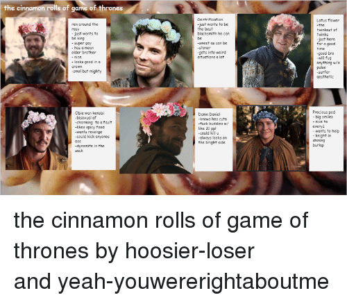 Cute, Food, and Game of Thrones: the cinnamon rolls of game of thrones  Sentrification  Lotus flower  the  twinkest of  twinks  just here  for a good  time  -good bro  -will fuq  anything wa  pulse  -surfer  aesthetic  ren around the  rosy  -just wants to be  the best  just wants to  blacksmith he car  be king  sweet as can be  -stoner  -gets into weird  super gay  has a mean  older brother  - nice  situations a lot  looks good in a  crown  -smol but mighty  Obie wan kenobi  -bisexual atf  -charming to a fault  likes spicy food  -wants revenge  -could kick anyones  Precious pod  big smiles  - nice to  everyl  wants to  knight io help  Damn Daniel  knows hes cute  fuck buddies w/  like 10 ppl  -could killu  -always looks on  the bright side  shining  burlap  -dynamite in the  sack <p>the cinnamon rolls of game of thrones by<span>hoosier-loser and</span><span>yeah-youwererightaboutme</span></p>