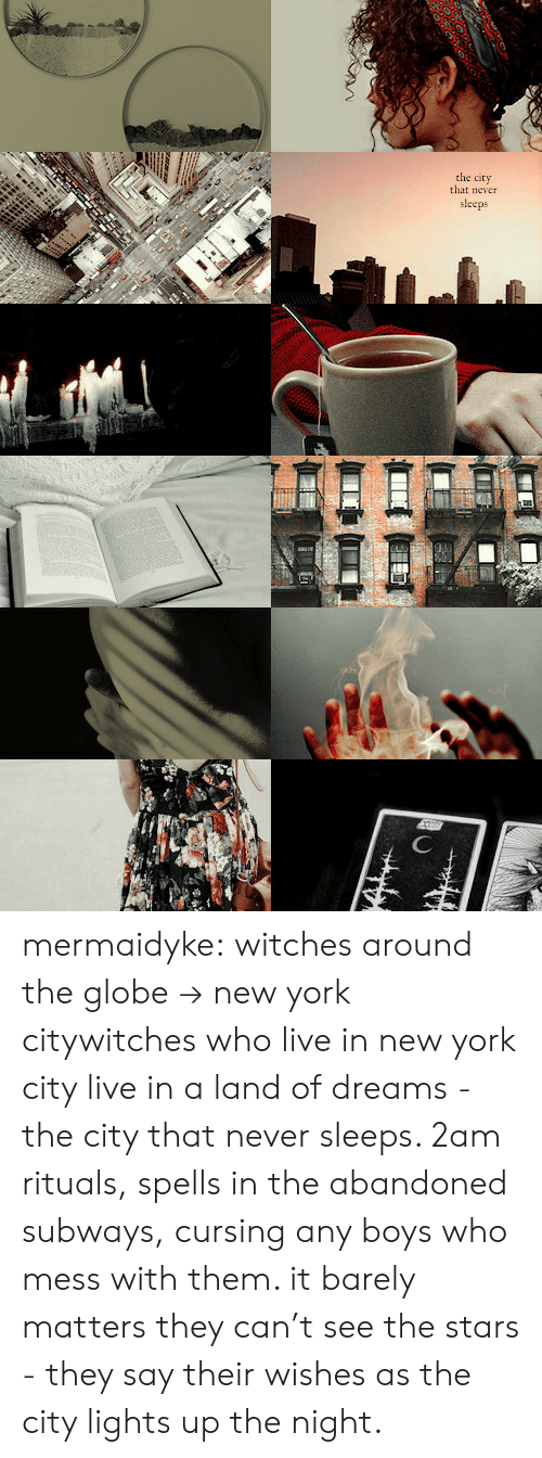 New York, Tumblr, and Blog: the city  that never  sleeps mermaidyke: witches around the globe → new york citywitches who live in new york city live in a land of dreams - the city that never sleeps. 2am rituals, spells in the abandoned subways, cursing any boys who mess with them. it barely matters they can't see the stars - they say their wishes as the city lights up the night.