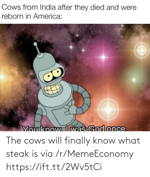 Memeeconomy: The cows will finally know what steak is via /r/MemeEconomy https://ift.tt/2Wv5tCi