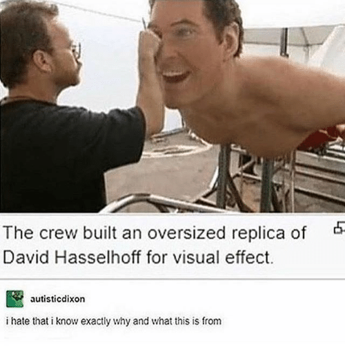 Ironic, The Crew, and David Hasselhoff: The crew built an oversized replica of  David Hasselhoff for visual effect.  autisticdixon  i hate that i know exactly why and what this is from