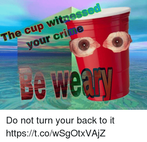 Crime, Back, and Witness: The cup witness  your crime  rg Do not turn your back to it https://t.co/wSgOtxVAjZ