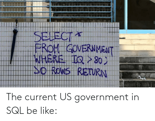 sql: The current US government in SQL be like: