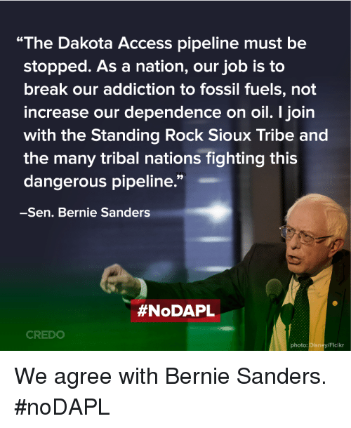 "Disney, Memes, and Access: ""The Dakota Access pipeline must be  stopped. As a nation, our job is to  break our addiction to fossil fuels, not  increase our dependence on oil. I join  with the Standing Rock Sioux Tribe and  the many tribal nations fighting this  dangerous pipeline.""  -Sen. Bernie Sanders  #NoDAPL  CREDO  photo: Disney/Flaikr We agree with Bernie Sanders. #noDAPL"