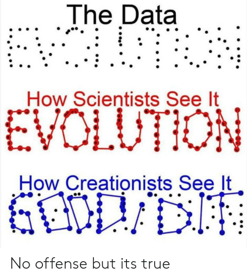 True, Evolution, and How: The Data  How Scientists See lt  EVOLUTION  How Creationists See It No offense but its true