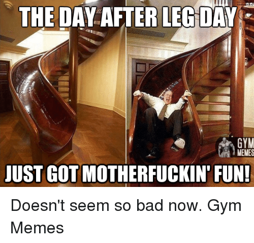 Day After Leg Day: THE DAY AFTER LEG DAY  GYM  MEMES  JUST GOT MOTHERFUCKIN FUN! Doesn't seem so bad now.   Gym Memes
