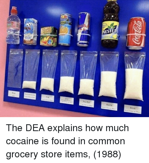 Cocaine, Common, and How: The DEA explains how much cocaine is found in common grocery store items, (1988)
