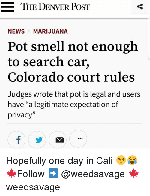 "Cars, Memes, and Smell: =  THE DENVER POST  NEWSMARIJUANA  Pot smell not enough  to search car,  Colorado court rules  Judges wrote that pot is legal and users  have ""a legitimate expectation of  privacy""  02 Hopefully one day in Cali 😏😂 🍁Follow ➡ @weedsavage 🍁 weedsavage"