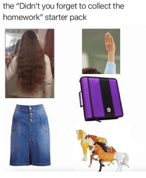 """Homework, Starter Pack, and You: the """"Didn't you forget to collect the  homework"""" starter pack"""