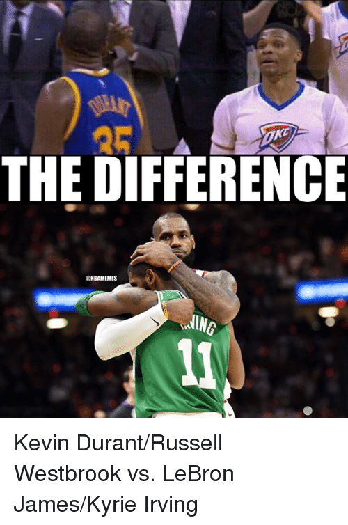 Kevin Durant, Kyrie Irving, and LeBron James: THE DIFFERENCE  @NBAMEMES  ING Kevin Durant/Russell Westbrook vs. LeBron James/Kyrie Irving