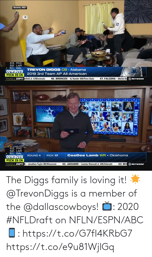 Loving: The Diggs family is loving it! 🌟  @TrevonDiggs is a member of the @dallascowboys!  📺: 2020 #NFLDraft on NFLN/ESPN/ABC 📱: https://t.co/G7fI4KRbG7 https://t.co/e9u81WjlGq