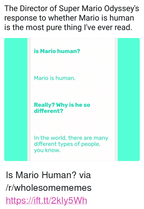 "Super Mario, Mario, and World: The Director of Super Mario Odyssey's  response to whether Mario is human  is the most pure thing I've ever read.  is Mario human?  Mario is human.  Really? Why is he so  different?  In the world, there are many  different types of people,  you know <p>Is Mario Human? via /r/wholesomememes <a href=""https://ift.tt/2kIy5Wh"">https://ift.tt/2kIy5Wh</a></p>"