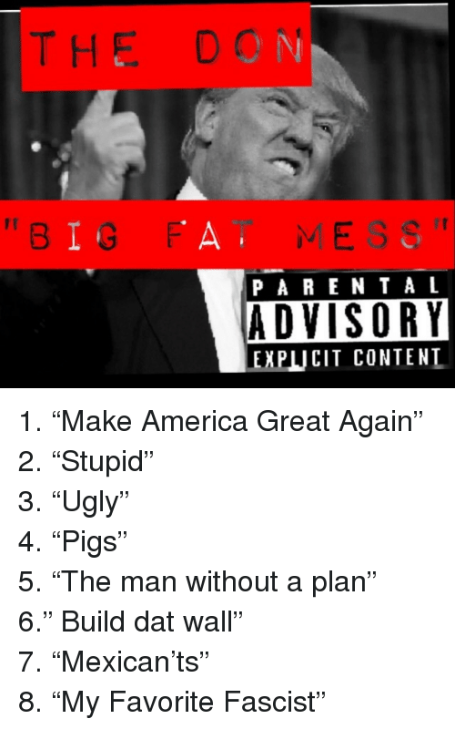 """America, Parental Advisory, and Content: THE DON  """"BIG FAT MESS""""  PARENTAL  ADVISORY  EXPLICIT CONTENT <p>1.""""Make America Great Again""""</p><p>2.""""Stupid""""</p><p>3.""""Ugly""""</p><p>4.""""Pigs""""</p><p>5.""""The man without a plan""""</p><p>6."""" Build dat wall""""</p><p>7.""""Mexican'ts""""</p><p>8.""""My Favorite Fascist""""</p>"""