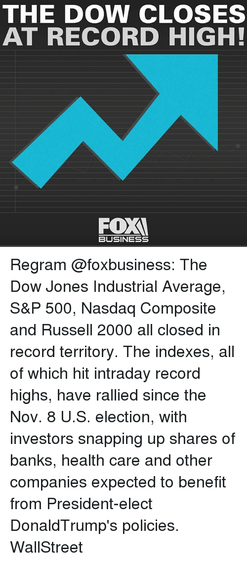 Memes, Banks, and Business: THE DOW CLOSES  AT RECORD HIGH!  FOX  BUSINESS Regram @foxbusiness: The Dow Jones Industrial Average, S&P 500, Nasdaq Composite and Russell 2000 all closed in record territory. The indexes, all of which hit intraday record highs, have rallied since the Nov. 8 U.S. election, with investors snapping up shares of banks, health care and other companies expected to benefit from President-elect DonaldTrump's policies. WallStreet