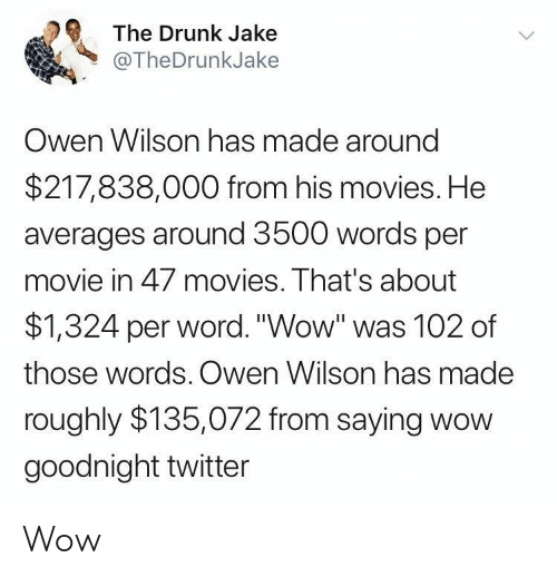 "Drunk, Movies, and Twitter: The Drunk Jake  @TheDrunkJake  Owen Wilson has made around  $217,838,000 from his movies. He  averages around 3500 words per  movie in 47 movies. That's about  $1,324 per word.""Wow"" was 102 of  those words. Owen Wilson has made  roughly $135,072 from saying wow  goodnight twitter Wow"