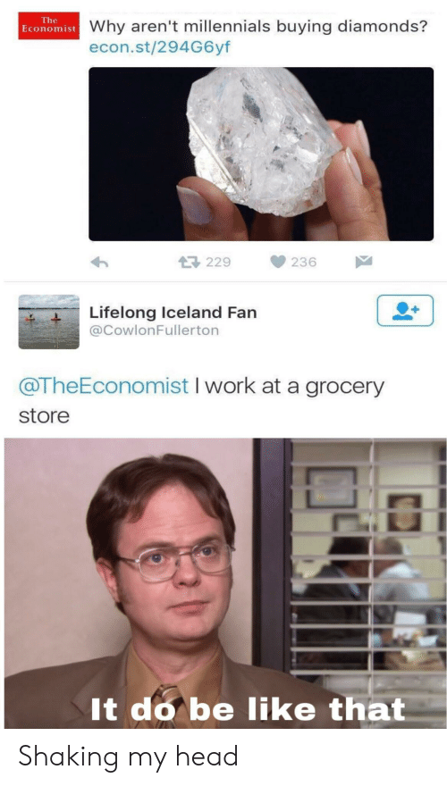 Be Like, Head, and Millennials: The  Economist Why aren't millennials buying diamonds?  econ.st/294G6yf  229  236  Lifelong Iceland Fan  @CowlonFullerton  @TheEconomist I work at a grocery  store  It do be like that Shaking my head