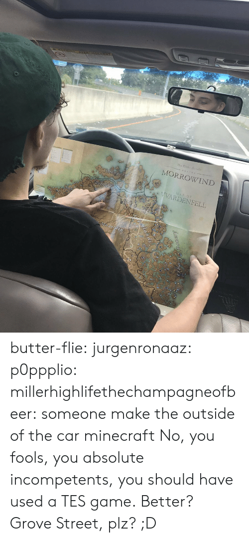 Minecraft, Tumblr, and Blog: The Eilder Scrolus  MORROWIND  Sheogo  AP OF  VVARDENFELL butter-flie: jurgenronaaz:  p0ppplio:  millerhighlifethechampagneofbeer: someone make the outside of the car minecraft  No, you fools, you absolute incompetents, you should have used a TES game.  Better?  Grove Street, plz? ;D