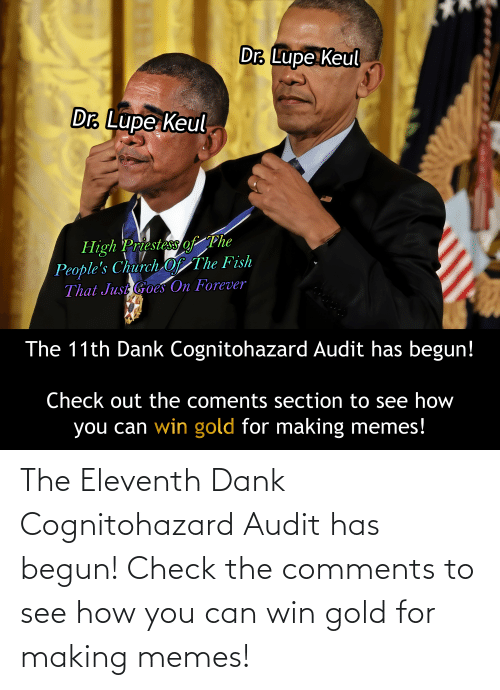 Begun: The Eleventh Dank Cognitohazard Audit has begun! Check the comments to see how you can win gold for making memes!