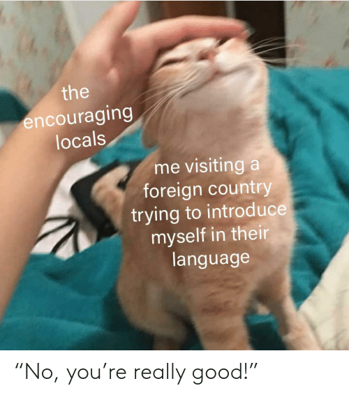"""Foreign: the  encouraging  locals  me visiting a  foreign country  trying to introd uce  myself in their  language """"No, you're really good!"""""""