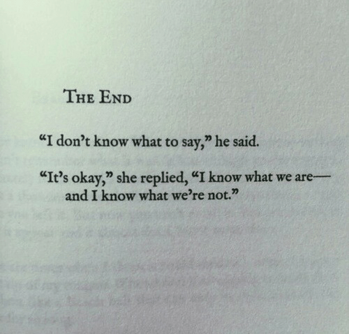 "Okay, She, and What: THE END  ""I don't know what to say,"" he said.  ""It's okay, she replied, ""I know what we are  and I know what we're not."""