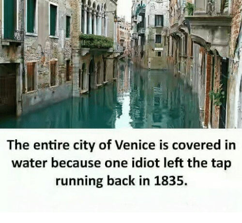 Memes, Water, and Idiot: The entire city of Venice is covered in  water because one idiot left the tap  running back in 1835.