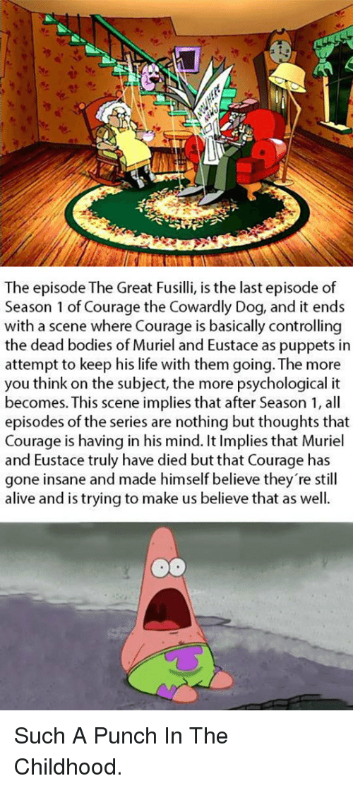 Alive, Bodies , and Courage the Cowardly Dog: The episode The Great Fusilli, is the last episode of  Season 1 of Courage the Cowardly Dog, and it ends  with a scene where Courage is basically controlling  the dead bodies of Muriel and Eustace as puppets in  attempt to keep his life with them going. The more  you think on the subject, the more psychological it  becomes. This scene implies that after Season 1, all  episodes of the series are nothing but thoughts that  Courage is having in his mind. It Implies that Muriel  and Eustace truly have died but that Courage has  gone insane and made himself believe they're still  alive and is trving to make us believe that as well. <p>Such A Punch In The Childhood.</p>
