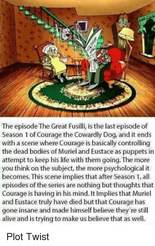 Alive, Bodies , and Courage the Cowardly Dog: The episode The Great Fusilli, is the last episode of  Season 1 of Courage the Cowardly Dog, and it ends  with a scene where Courage is basically controlling  the dead bodies of Muriel and Eustace as puppets in  attempt to keep his life with them going. The more  you think on the subject, the more psychological it  becomes. This scene implies that after Season 1, all  episodes of the series are nothing but thoughts that  Courage is having in his mind. It Implies that Muriel  and Eustace truly have died but that Courage has  gone insane and made himself believe they 're still  alive and is trying to make us believe that as well. Plot Twist