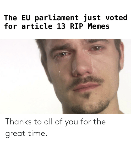 The Eu Parliament Just Voted For Article 13 Rip Memes Thanks To All