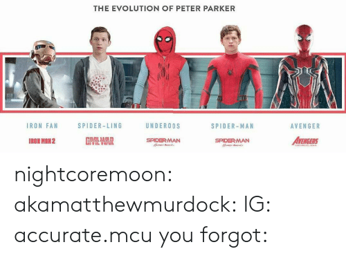 ling: THE EVOLUTION OF PETER PARKER  IRON FAN  SPIDER-LING  UNDEROOS  SPIDER-MAN  AVENGER  IRON MRN2  SPIDERMAN  AVENGERS  SPIDERMAN nightcoremoon:  akamatthewmurdock:  IG: accurate.mcu  you forgot: