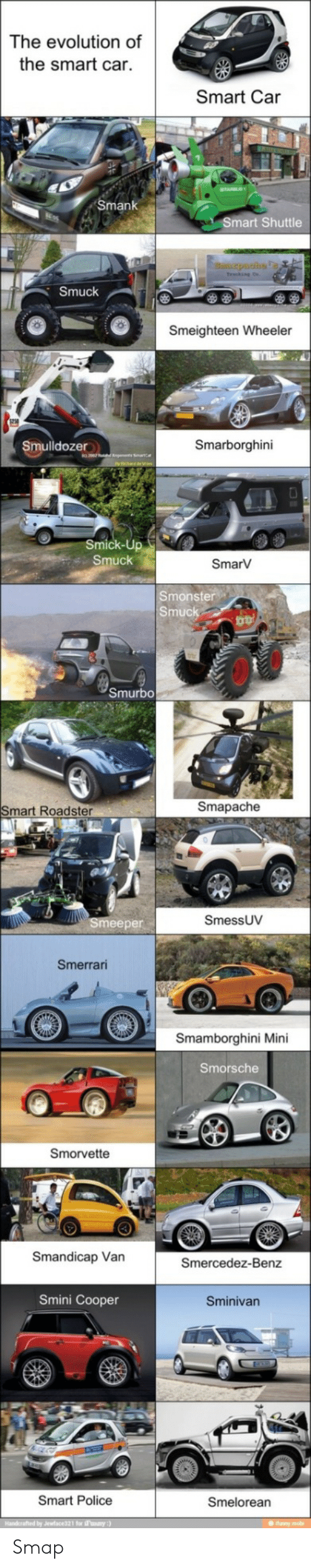 Wheeler: The evolution of  the smart car.  Smart Car  Smank  Smart Shuttle  puahs  Smuck  Smeighteen Wheeler  Smarborghini  Smulldozer  Smick-Up  Smuck  SmarV  Smonster  Smuck  Smurbo  Smapache  Smart Roadster  SmessUV  Smeeper  Smerrari  Smamborghini Mini  Smorsche  Smorvette  Smandicap Van  Smercedez-Benz  Smini Cooper  Sminivan  Smart Police  Smelorean  Handerafted by Jewface321 for Fanany:)  IS Smap