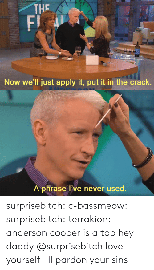Gif, Love, and Tumblr: THE  F)  AN  Now we'll just apply it, put it in the crack.  A phrase l've never used. surprisebitch:  c-bassmeow:  surprisebitch:  terrakion:  anderson cooper is a top  hey daddy   @surprisebitch love yourself     Ill pardon your sins