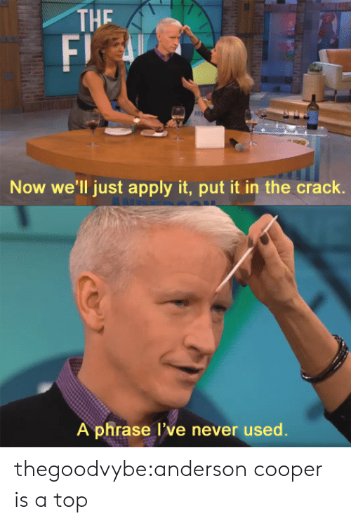 Tumblr, Anderson Cooper, and Blog: THE  F)  AN  Now we'll just apply it, put it in the crack.  A phrase l've never used. thegoodvybe:anderson cooper is a top