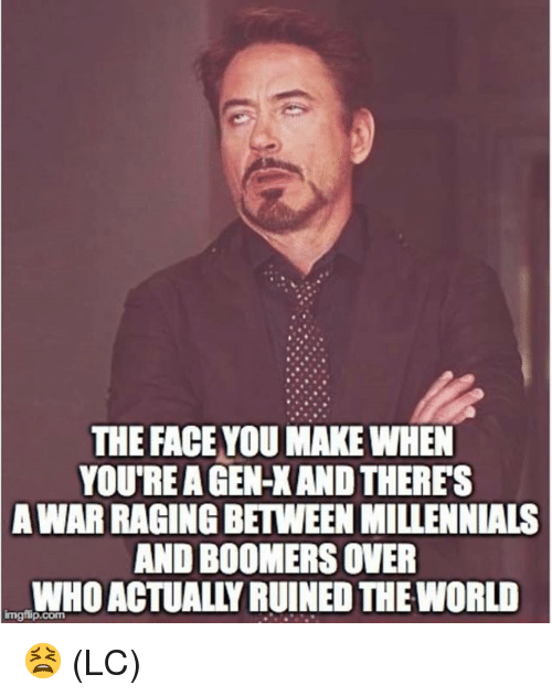 Memes, Millennials, and World: THE FACE YOU MAKE WHEN  YOU'RE A GEN-X AND THERES  WAR RAGING BETWEEN MILLENNIALS  AND BOOMERS OVER  WHO ACTUALLY RUINED THE WORLD  A  Imgilip.com 😫 (LC)