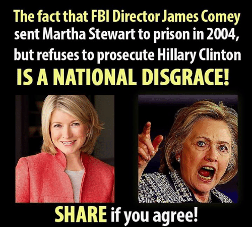 Facts, Fbi, and Hillary Clinton: The fact that FBI Director James Comey  sent Martha Stewart to prison in 2004,  but refuses to prosecute Hillary Clinton  IS A NATIONAL DISGRACE!  SHARE if you agree!