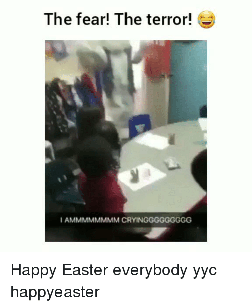 Easter, Memes, and Happy: The fear! The terror!  I AMMMMMMMM CRYINGGGGGGGGG Happy Easter everybody yyc happyeaster