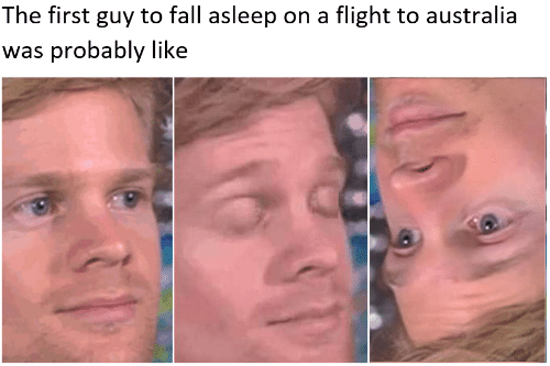 Fall, Australia, and Flight: The first guy to fall asleep on a flight to australia  was probably like