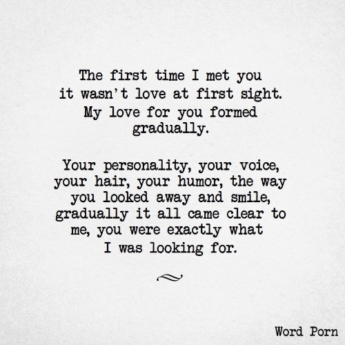At First Sight: The first time I met you  it wasn't love at first sight.  My love for you formed  gradually  Your personality, your voice,  your hair, your humor, the way  you looked away and smile,  gradually it all came clear to  me, you were exactly what  I was looking for.  Word Porn
