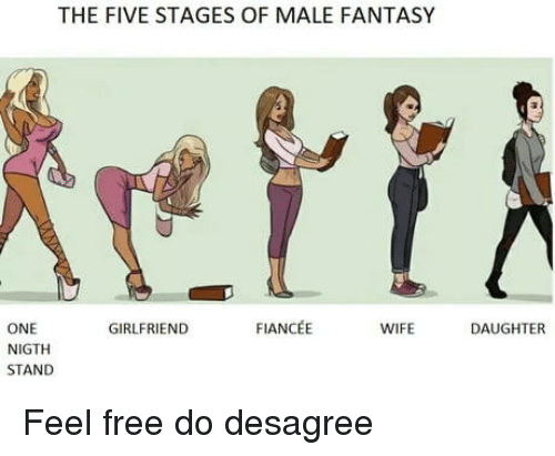 Free, Wife, and Girlfriend: THE FIVE STAGES OF MALE FANTASY  ONE  NIGTH  STAND  GIRLFRIEND  FIANCÉE  WIFE  DAUGHTER Feel free do desagree