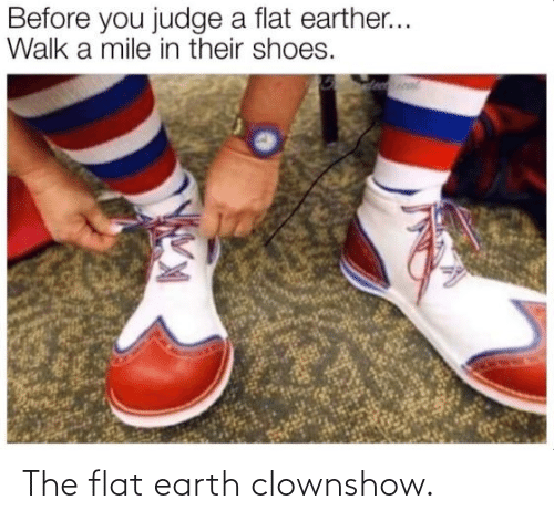 Flat: The flat earth clownshow.