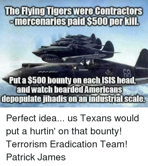 Head, Isis, and Memes: The Flying Tigers were Contractors  mercenaries paid $500 per kill.  Put a $500 bounty on each ISIS head,  and watch bearded Americans  depopulate jihadis on an industrial scale. Perfect idea... us Texans would put a hurtin' on that bounty! Terrorism Eradication Team!  Patrick James