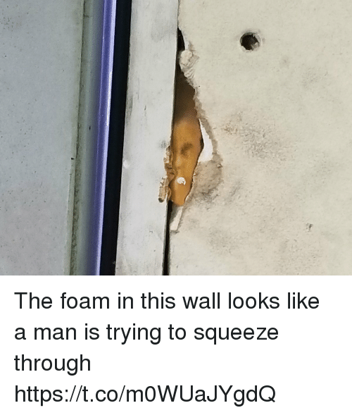 Faces-In-Things, Squeeze, and Man: The foam in this wall looks like a man is trying to squeeze through https://t.co/m0WUaJYgdQ