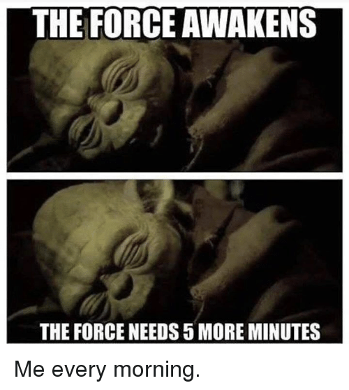 the force awakens: THE FORCE AWAKENS  THE FORCE NEEDS 5 MORE MINUTES Me every morning.