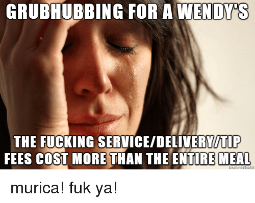 Fucking, Service, and More: THE FUCKING SERVICE/DELIVERYITIP  FEES COST MORE THAN THE ENTIRE MEAL murica! fuk ya!